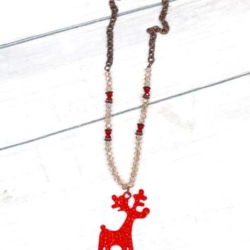 Crystal Beaded Reindeer Necklace