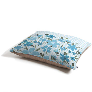 Lisa Argyropoulos Spring Floral And Stripes Blue Mist Pet Bed