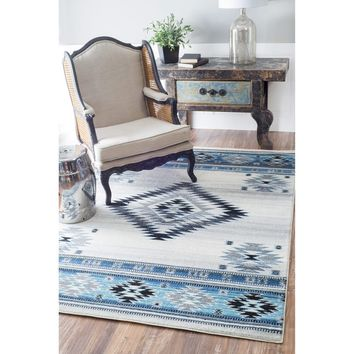 nuLOOM Southwestern Modern Ikat Aqua Rug (7'10 x 10'10) | Overstock.com Shopping - The Best Deals on 7x9 - 10x14 Rugs
