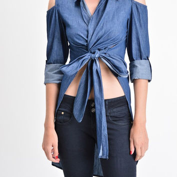 Women's Denim Shoulder Slit Shirt  T1970