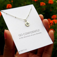 Sterling Silver North Star Necklace - Gift Necklace - Compass Rose small disc necklace - Whisper chain - Go Confidently quote
