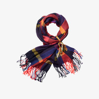Scotch Shrunk Check Scarf with Fringes - 1444-08.70505 - Multi Navy Check - FINAL SALE