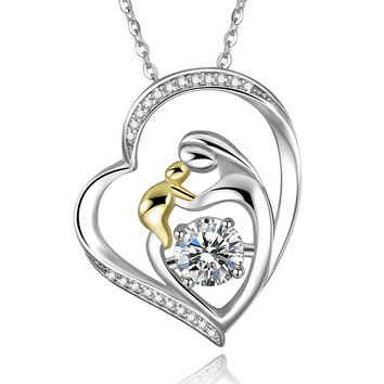 18K Gold Plated 925 Sterling Silver Mother and Child Love Heart Cubic Zirconia Pendant Necklace