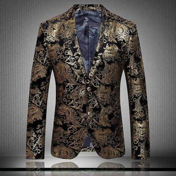 ICIKON3 Luxury Men's Blazers gold Printed blazer for Men 2016 Spring Elegant high-quality brands men's velor Married suit plus size XXXL