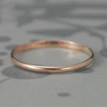 Plain Jane Skinny Minnie Band in Rose Gold Filled--1.5mm Stack Ring--Thin Rose Gold Filled Half Round Band Stacking Ring