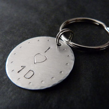ON SALE Directioner Gift, Directioner Keychain, Aluminum, Handstamped Key Chain