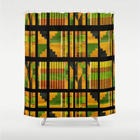 "Green,Black,Yellow,Red,Shower Curtain 71"" X 74"",Print,Bathroom,Home Decor,Tribal,African,Pattern,Quilted"