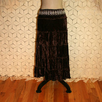 Shabby Boho Skirt Brown Velvet Gypsy Skirt Embroidered Beaded Full Skirt Tiered Skirt Brown Skirt Velvet Skirt India Medium Womens Clothing