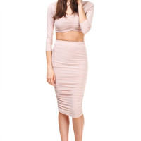 Together Forever Ruched Two Piece Set - Nude