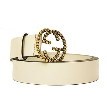 PEAPON Gucci Gold Studded Interlocking GG Logo Buckle Ivory Off White Leather Belt 282323