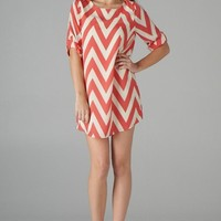 Pink Chevron Print Mini Shift Dress with 3/4 Sleeves
