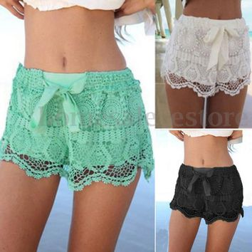 Women Summer Beach Lace Crochet Elastic Waist Chiffon Slim Shorts Pants Hot Plus
