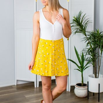 Falling Through Time Skirt-Yellow Floral