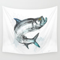 Tarpon Fish Wall Tapestry by Allison Reich
