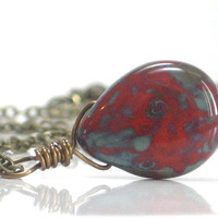 Red Green Necklace Picasso Teardrop Brick Moss Pendant by CCARIA