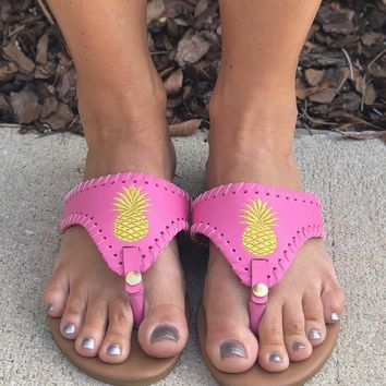 Simply Southern Pineapple Flops- Pink