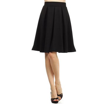 High Waist Knee Length Casual Pleated Skirt