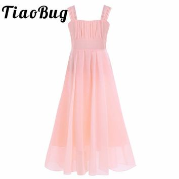 Tiaobug Girls Chiffon Flower Girl Dress Kids Pageant Party Ball Gown Prom Princess Dress for Wedding Formal Occassion
