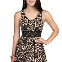all over cheetah print scoop neck lace illusion waist skater skirt  - 1000050487 - debshops.com
