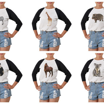 Women's Animal-4 Printed Elbow Sleeves T- Shirt WTS_03