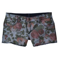 FlipSide Juniors Reversible Denim Short - Indigo to Floral