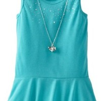 One Step Up Big Girls' Rhinestone Peplum Top With Necklace