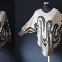 Vintage sweater 80s Metallic Batwing Gold Weave Wearable Art Black Jumper/Sweater Knit Made in Israel Knitted Sweater Dress