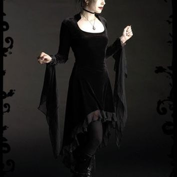 Circee Gothic Dress in Velvet with Dramatic Cuffs - Custom Dark Romantic Gothic Clothing