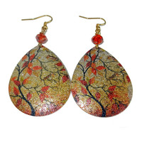 Gold and Orange Teardrop Dangle Earrings