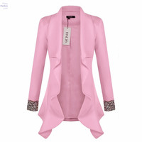 2016 White Pink Blazer Women Ruffles Plus Size Blazer Feminino Female Suit Jacket Slim Blaser OL Office Work Wear 20z