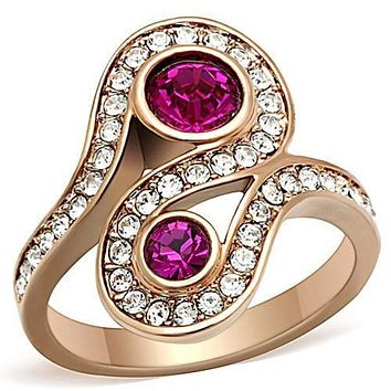 WildKlass Stainless Steel Anniversary Ring IP Rose Gold(Ion Plating) Women Top Grade Crystal Fuchsia