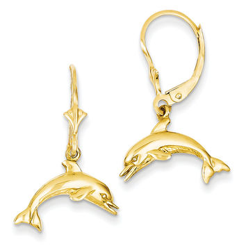 14K Jumping Dolphin Leverback Earrings K4436
