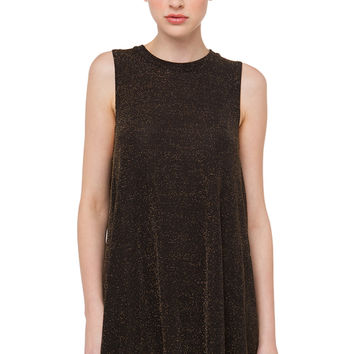 Shimmery Mesh Insert Going Out Dress - Gold