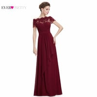 Burgundy Prom Dresses 2017 New Arrival HE08490SB Women Boat Neck Royal Blue Lace Red Plus Size Long Chiffon Prom Dresses