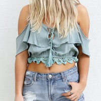 Think Of Me Sage Cold Shoulder Crop Top