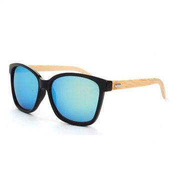 Stylish Round Bamboo Wood Frame Polarized Lenses Sunglasses