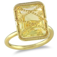 7 1/2 Carat Citrine Fashion Ring in Yellow Gold Plated Silver