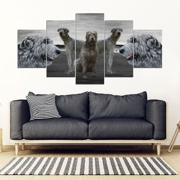 Irish Wolfhound Print-5 Piece Framed Canvas- Free Shipping