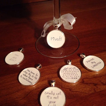 Friends TV show wine glass charms - set of 6 quotes - ribbons included