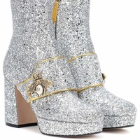 Glitter plateau ankle boots