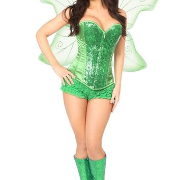 Daisy Top Drawer 3 PC Green Fairy Corset Costume