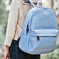 [grls72000019]Country Style Retro Floral Print Denim Backpack