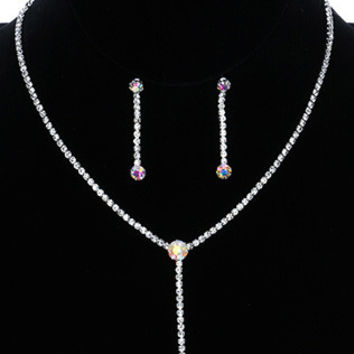 NECKLACE AND EARRING SET / FACETED ROUND AURORA / RHINESTONE Y / WEDDING / FORMAL / POST PIN / 12 INCH LONG / 2 3/8 INCH DROP / NICKEL AND LEAD COMPLIANT