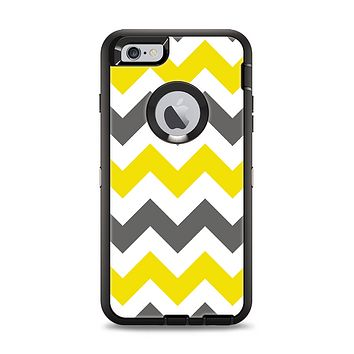 The Gray & Yellow Chevron Pattern Apple iPhone 6 Plus Otterbox Defender Case Skin Set