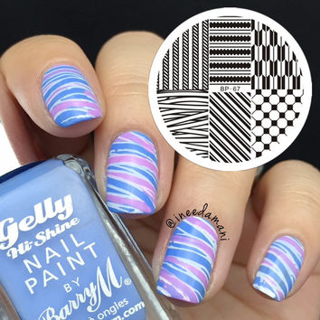 BORN PRETTY Nail Art Stamping Template Arrow Geo Pattern Streak Image Plate Nail Art Stamp Tool BP67
