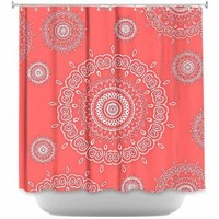 DiaNoche Designs Shower Curtains by Monika Strigel Stylish, Decorative, Unique, Cool, Fun, Funky Bathroom - Infinity Coral