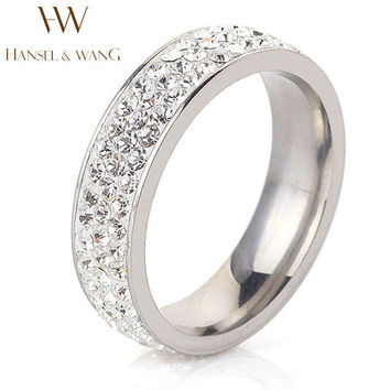 High Quality White Three Row Czech Drilling Women Ring Fashion Stainless Steel Rings Engagement Wedding Rings Anillos 2RS404