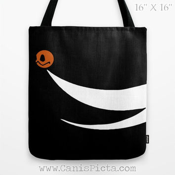 Zero Ghost Dog Nightmare Before Christmas Graphic Print Tote Bag Movie Skellington Carryall Halloween Orange Pumpkin Nose Jack O'Lantern