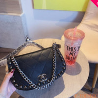 853 Fashion Chain Rivet Classic Flap Bag Casual Shoulder Crossbody Quilted Saddle Bag 23cm
