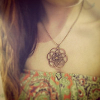 Wood Flower of Life Chain Necklace